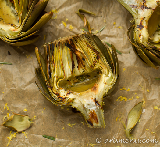 Lemon Rosemary Grilled Artichokes #vegan #glutenfree