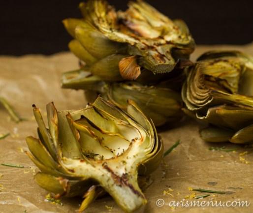 Lemon Rosemary Grilled Artichokes #vegan #glutenfree