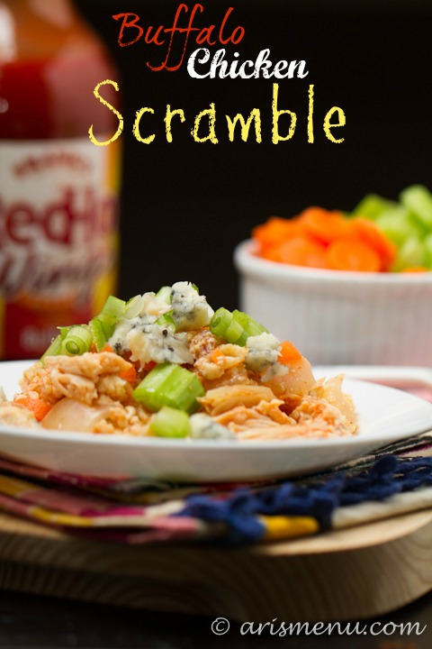 Buffalo Chicken Scramble: A bold and spicy protein-packed breakfast that comes together in minutes!
