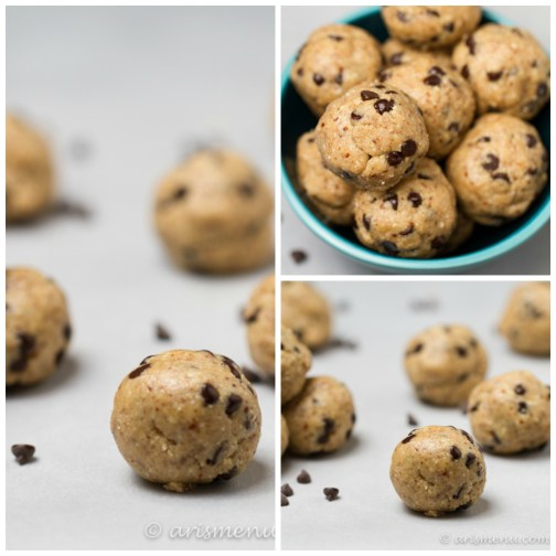 Peanut Butter Chocolate Chip Cookie Dough Bites: A healthy treat made from simple, no-bake, wholesome ingredients