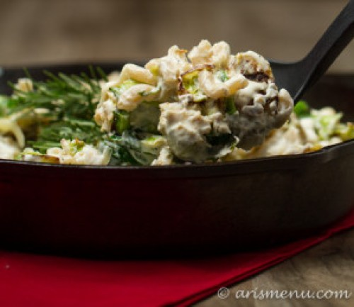 Brussels Sprouts Fontina Mac & Cheese: Easily, healthy veggie-packed comfort food!