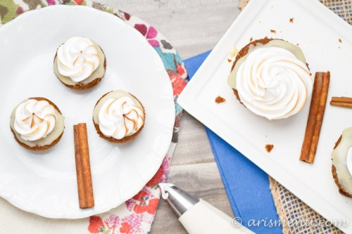 Pumpkin White Chocolate S'mores Cupcakes: Gingersnap crust, pumpkin cupcake, white chocolate ganache & toasted marshmallow frosting {gf}