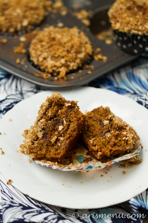 Roasted Banana Streusel Muffins