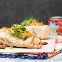 Grilled Chicken with Sriracha Almond Sauce