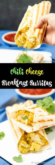 Chili Cheese Breakfast Burritos: Easy, healthy and delicious breakfast burritos are easy to make and packed with flavor. Vegetarian and gluten-free with tons of spice, these babies are a sure hit!