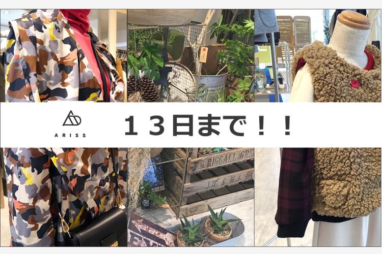 ラスト1Day!13日火曜最終日ですよ☆