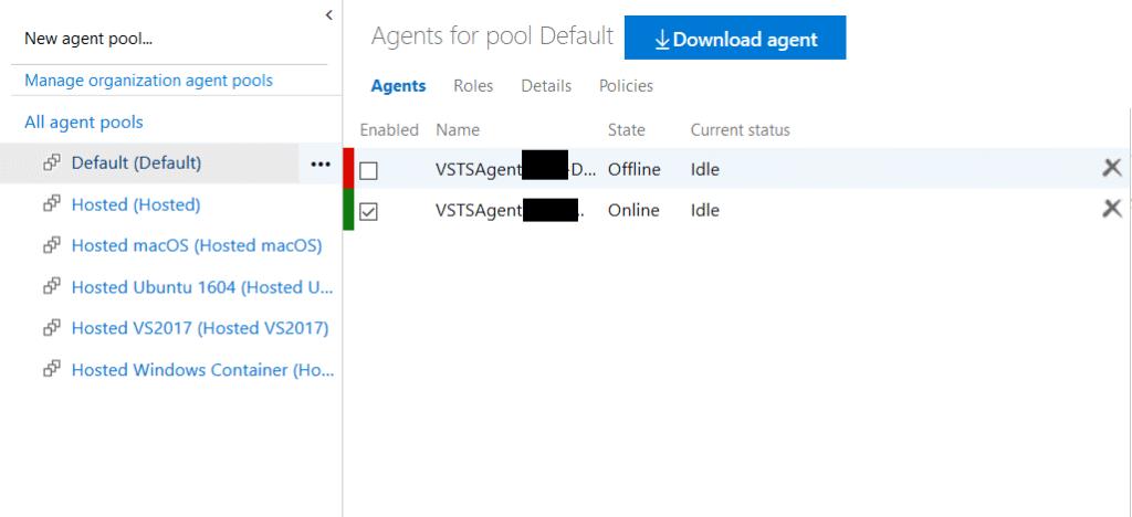 Borrando el agente offline de Azure DevOps