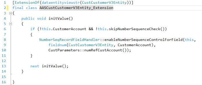 Extensión de código de la entity Customers V3