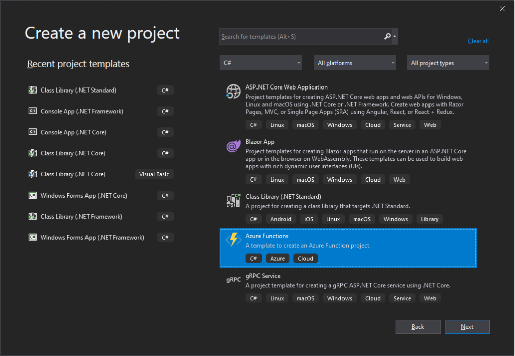 Azure Functions in Visual Studio 2019