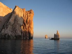 polyaigos cliffs, sunset