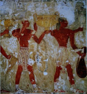 Men in Minoan-style loincloths bringing characteristic Minoan metal vessels to the Egyptian court.