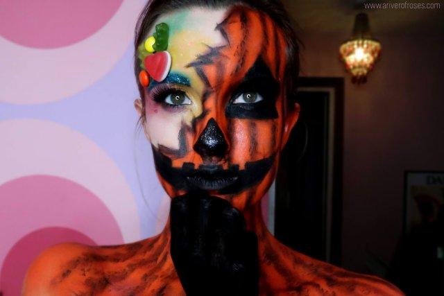 halloween makeup trick or treat pumpkin