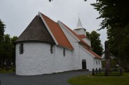 Rear of the church. The red clay roof tiles were ubiquitous on homes around Grimstad, while the wooden shingles were more typical of the stavkirkes that dot the inland of Norway.