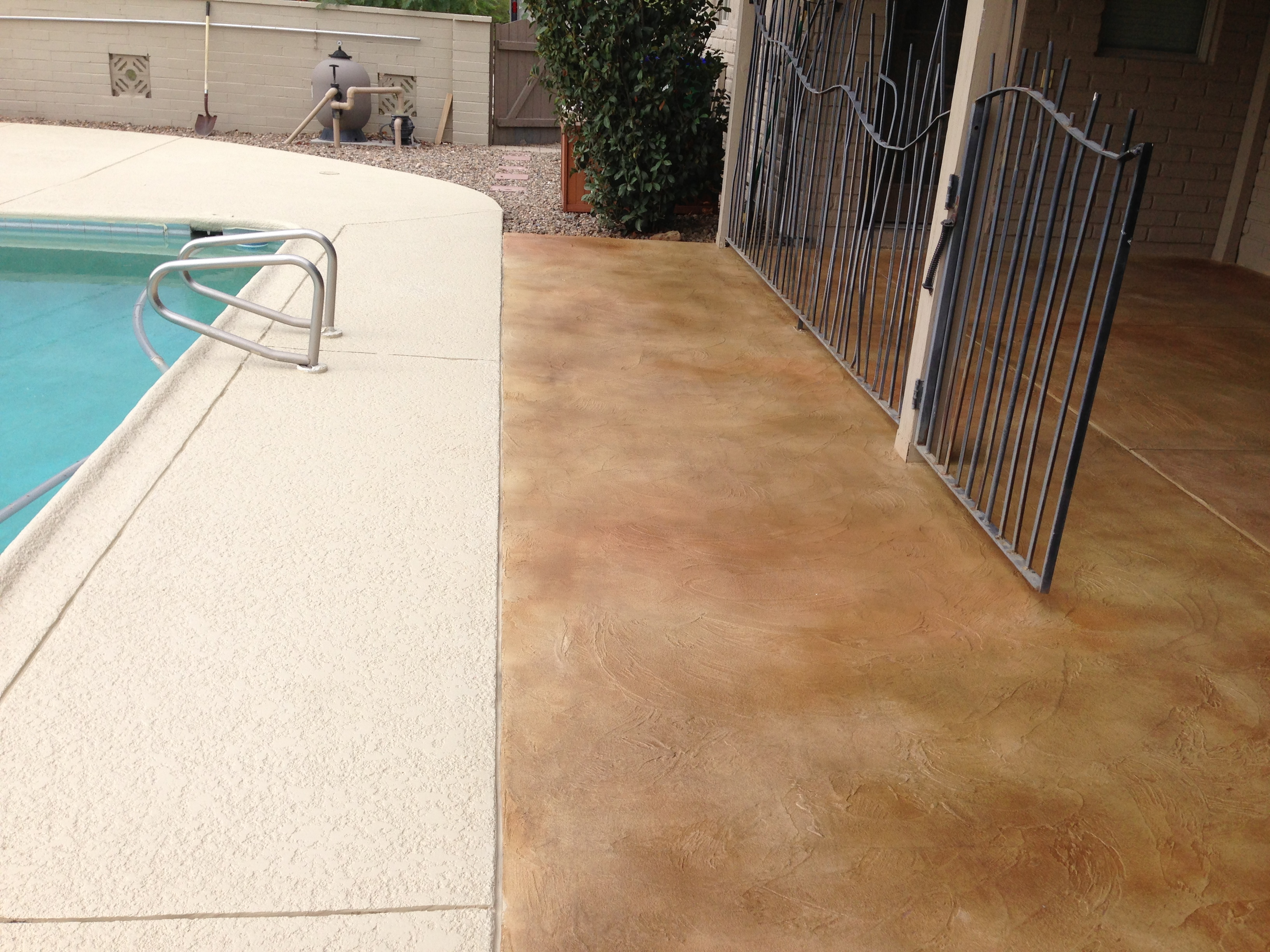 Stained Concrete Patio Overlay Installation and Pool Deck ... on Pool Deck Patio Ideas  id=88168