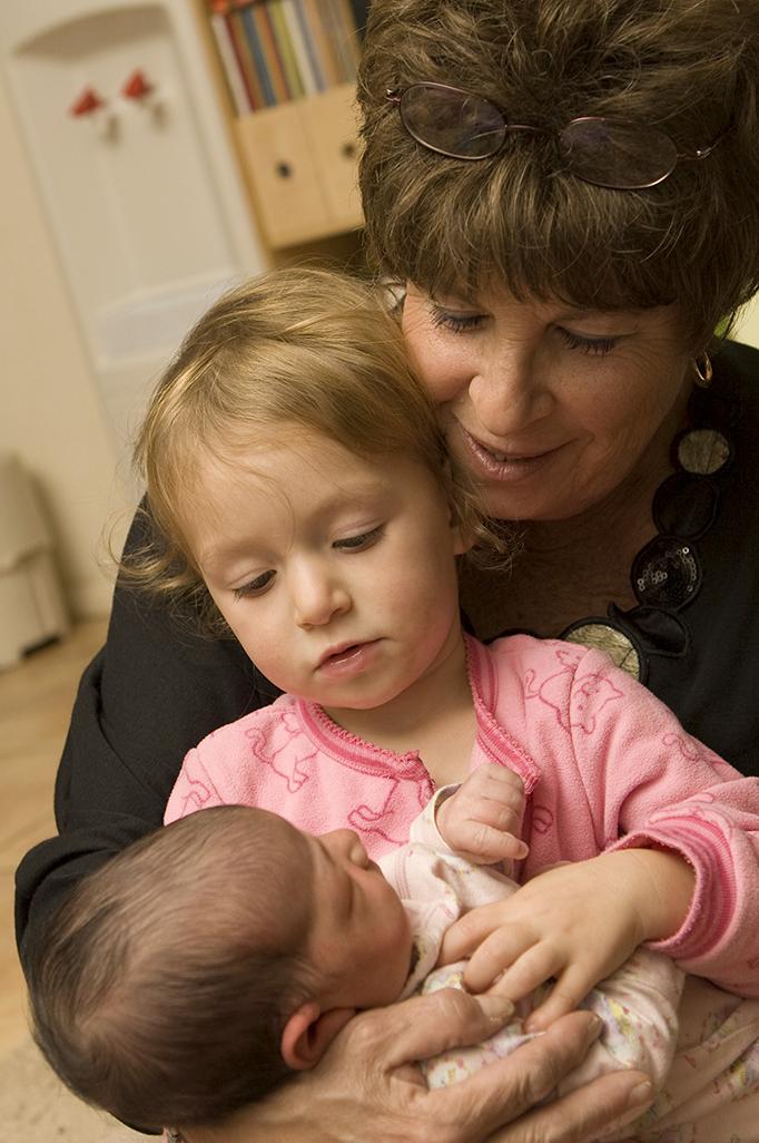 Grandmother babysitting grandchildren