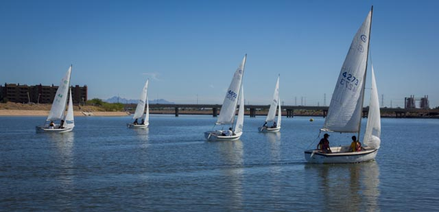 The seven boats of the Ruth Beals Cup regatta head for the windward mark.