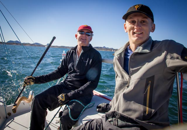 Bob Whyte and Ryan Kroelinger aboard the spectator boat Melissa Kay. Photo: Mike Ferring