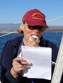LPSC's Rhonda Brewer posing football trivia questions on the radio. Photo: Janet Cohen