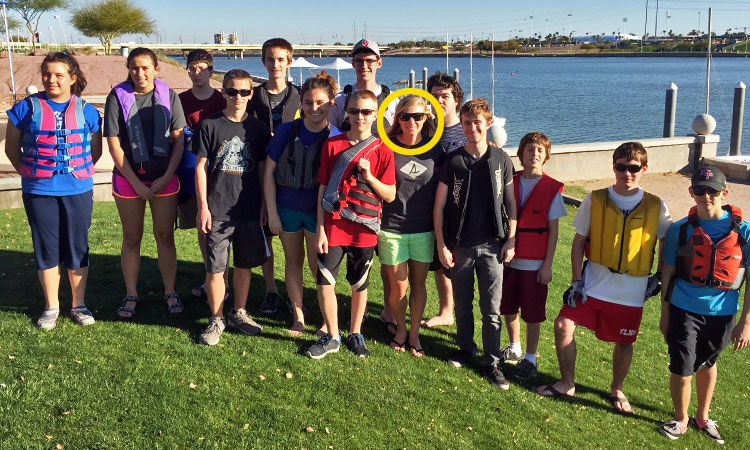 25-year old Stephanie Roble (circled) almost lost among the high school class at Tempe Town Lake. Photo: Chris Smith