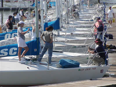 A glimpse of the school's fleet of J/24s, part of an overall fleet of 50. OCSC says half of its students are women.