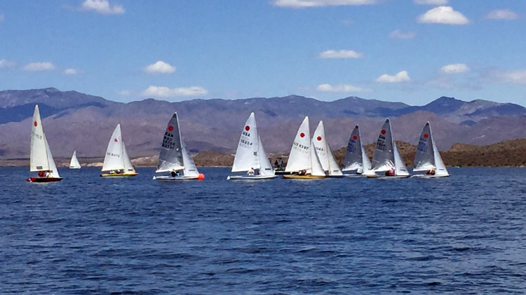 The fleet of Fireballs fighting it out for the National win. Photo: Maryellen Ferring