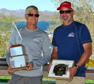 John Mayall and Mike Hester snagged the C14 National Championship trophy. Photo: Gerald Byrnes