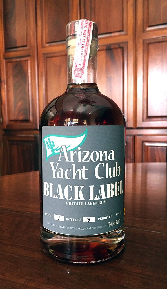 A bottle from the first batch of AYC private-label rum. Photo: Mike Ferring