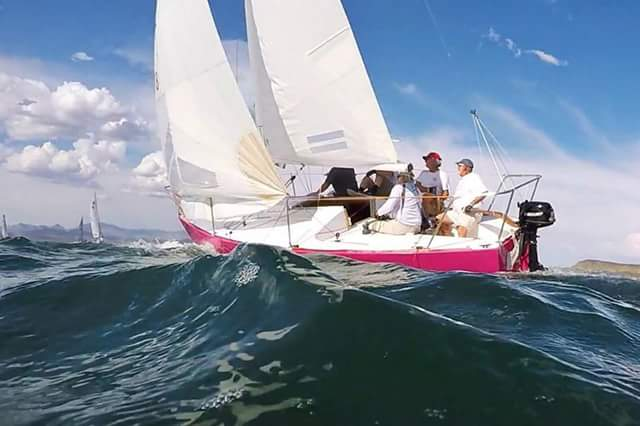 Bruce Andress and company in Victor Felice's J/24 as the wind filled the the waves rose. This shot is by Chris Smith at water level with his GoPro.