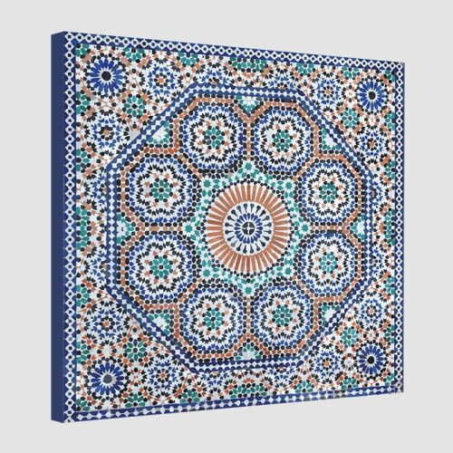 Tableau oriental mosaïque rosace-bleu