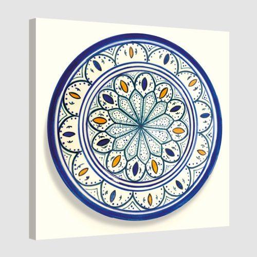 Tableau oriental assiette unitaire-bleu