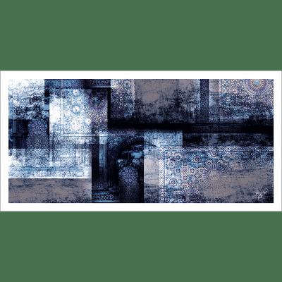 Poster oriental-abstrait mosaique-bleu
