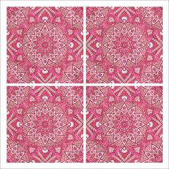 Poster oriental-mosaïque fleur-rose