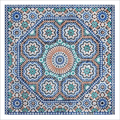 Poster oriental-mosaïque rosace-bleu