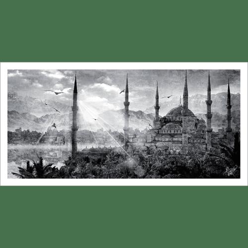 Poster oriental-mosquée d'Istanbul-gris