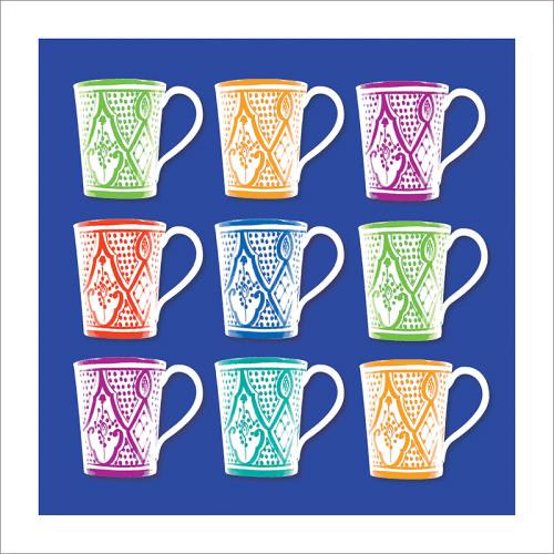 Poster oriental-mug carré-bleu