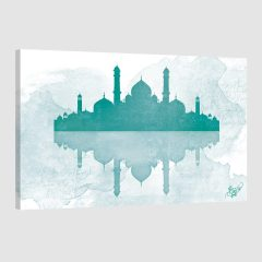 Tableau oriental mosquée aquarel-vert