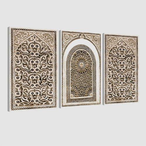Tableau oriental arabesque triptyque-beige