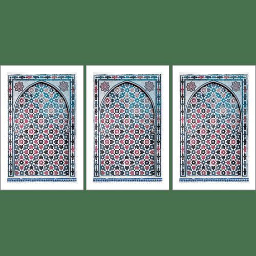 Poster arabe-portes-mosaique triptyque-rouge