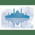 Poster oriental-mosquée aquarel-bleu