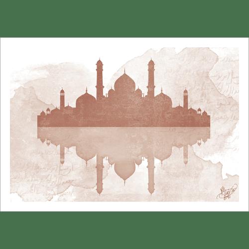 Poster oriental-mosquée aquarel-marron
