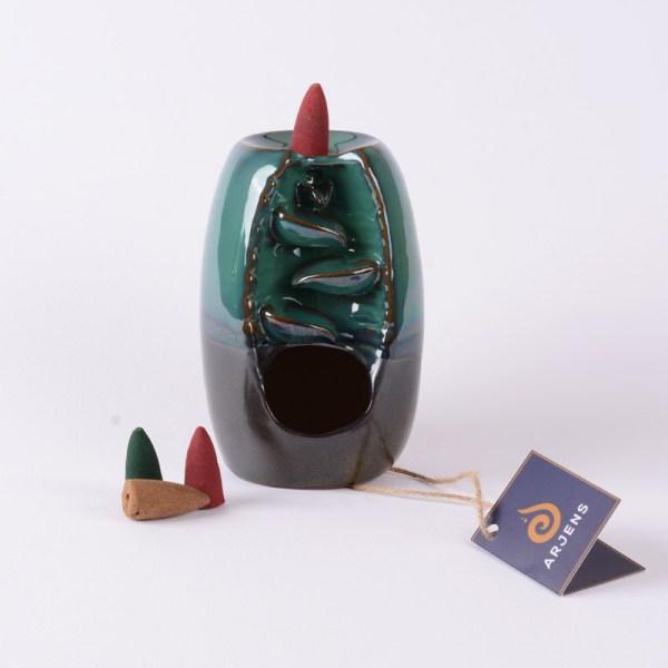 Yeşil Siyah Seramik Geri Akış Tütsülük