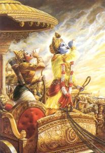 Tableau d'Arjuna sur son char