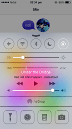 iOS 7 Control Centre, above Game Centre