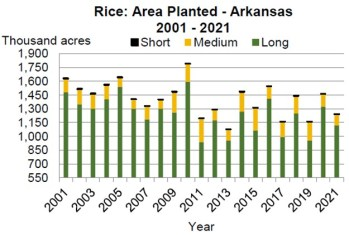 AR Rice Area Planted 2001-2021