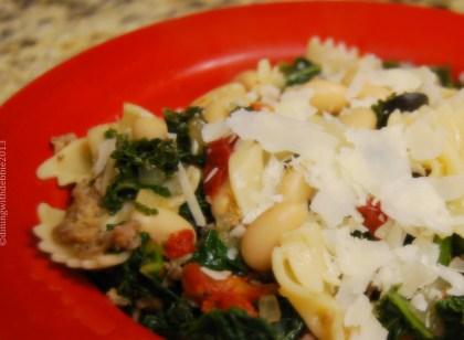 pasta, sausage, kale