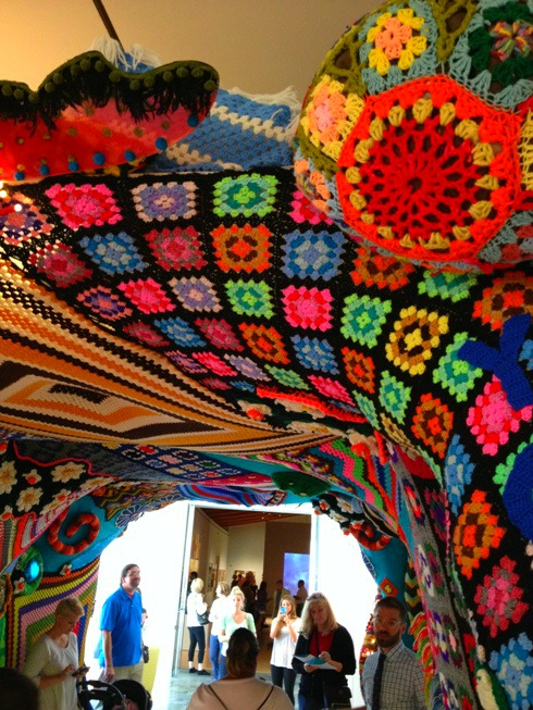 Yarn bombed tunnel at Crystal Bridges
