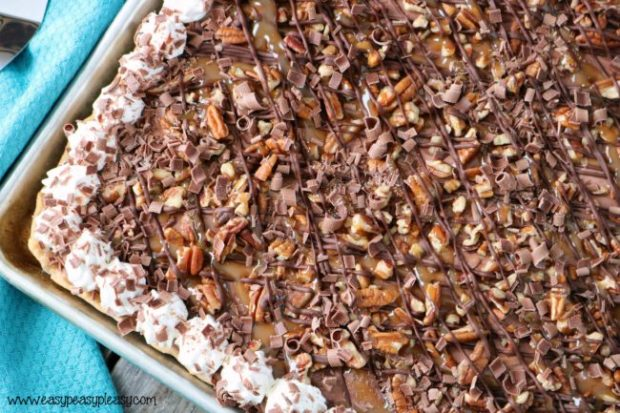 Chocolate Turtle Slab Pie
