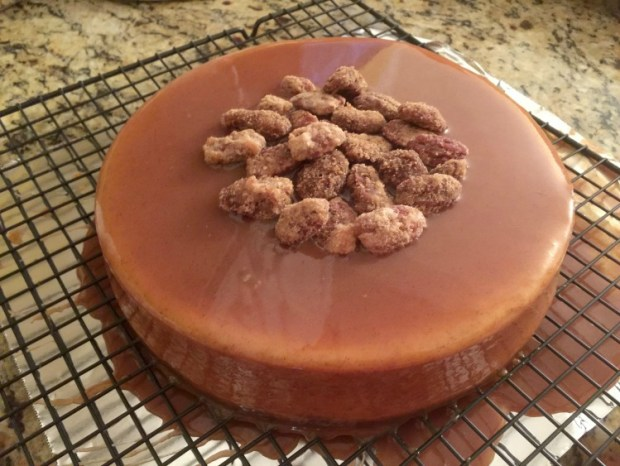 Pumpkin Cheesecake with salted caramel pecan praline glaze horz