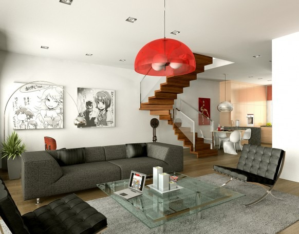 Modern-fresh-living-room-with-glass-coffee-table-carpet-and-leather-armchair