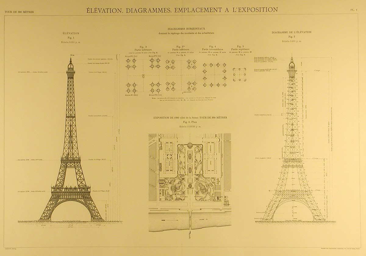 Blueprints Of The Eiffel Tower Arkinet